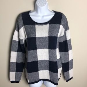 Old Navy Blue and White Checkered Sweater Size L